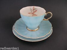 Saji Fine China Trio Cup Saucer Plate Bamboo Leaf Blue 7966 Japan c1950's