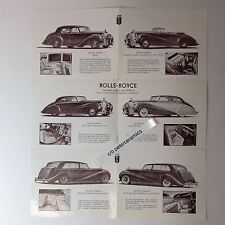 ✇ Original ROLLS-ROYCE SILVER CLOUD Wraith BENTLEY Prospekt 1950er brochure