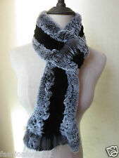 winter  warm /real  rex rabbit silver fox  knitted scarf  black with gray