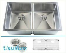 "37"" 15mm (1/2"") Radius Square Corner Double Bowl Stainless Steel Kitchen Sink"