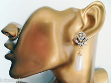Art Deco Vintage Look Dangle Drop Earrings Teardrop Pearl CLIP ON  GOLD Tone