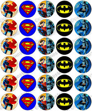30 x Superman vs Batman Party Edible Rice Wafer Paper Cupcake Toppers Jim Lee