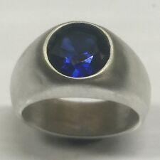 MJG STERLING SILVER MEN'S RING.10MM LAB BLUE SAPPHIRE. SIZE 9