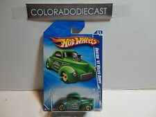 2010 Hot Wheels #139 Green Custom '41 Willy's Coupe w/Gold 5 Spoke Wheels