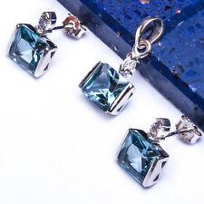 "New Aquamarine & Russian CZ .925 Sterling Silver Pendant & Earrings Set.75"""