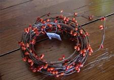 Primitive Pip Berry Garland ~ 18ft single ply roping ~ Pumpkin Orange