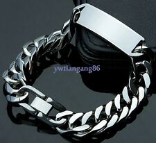 hot selling mens jewelry silver stainless steel ID curb chain bracelet 15mm8.66""
