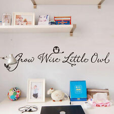 Grow Wise Little Owl Kid Room Decor Lettering Quote Removable Wall Sticker Decal