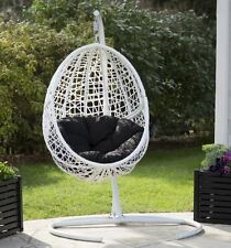 Patio Chair Outdoor Furniture Swing White Resin Wicker Hanging Egg Cushion Porch