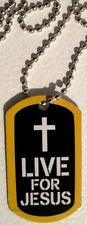 """JESUS STRONG """"Live For Jesus"""" Dog Tag Christian FREE SHIP U.S. 1st Class - NEW"""