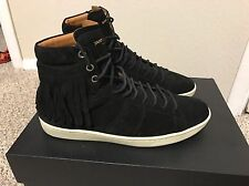 $475 Shipped Saint Laurent Sl/18h Fringed Black Suede Court Sneakers Sz 41 YSL