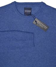 PAOLO MONDO Blue Wool/Cashmere Crewneck Sweater Sz.Medium Made in Italy NWT