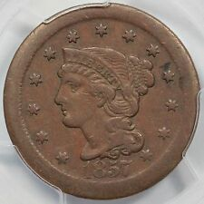 1857 N-1 PCGS VF 35 Large Date Broadstruck Braided Hair Large Cent Coin 1c