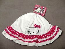 HELLO KITTY by Sanrio Toddler White Ruffle/Polka Dot Sun Hat One Size SUPER CUTE