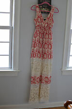 Anthropologie Sunday in Brooklyn red floral scroll maxi dress S boho crochet
