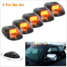 5Pcs Smoked Amber LED Cab Roof Running Marker Lights For Truck SUV Off Road Set