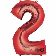 """Giant Jumbo 34"""" Number No. 2 Red Helium Foil Balloon Party 2nd 21st"""