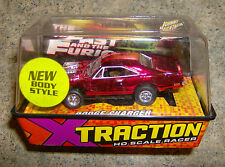 """""""NEW"""" X TRACTION FAST AND FURIOUS RED CHROME DODGE CHARGER HO SLOT CAR"""