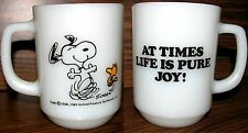 """Vintage Snoopy Cup Anchor Hocking Fire King """"At Times Life Is Pure Joy!"""" RARE"""