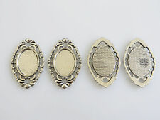 10 Antique Silver Cameo Cabochon Pendants Tray Connector Settings 13x18mm Blank