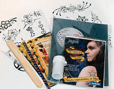 Lrg Black Jagua Henna Tattoo Pro Kit inc designs and transfer kit ti
