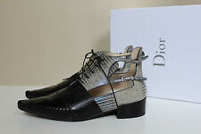 New sz 10.5 / 41 Christian Dior Embossed leather Nomade Lace up Ankle Boot Shoes