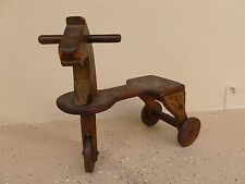 ANTIQUE WOODEN HORSE TOY TRICYCLE W WOODEN WHEELS