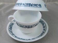 Vintage Coffee Cup Corning Corelle USA Town Blue Onion Milk Glass Bowl Saucer