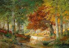 Beautiful Oil painting autumn landscape with brook cross the forest & huge trees
