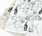 Cat Kitchen Towel   Cotton   White or Natural Beige   Pictorial