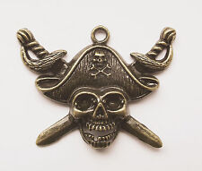 2 Metal Steampunk Antique Bronze Pirate Skull Charms/Pendants - 44mm