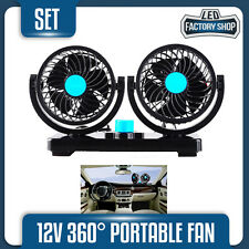 12V 360° Portable Fan Movable Dash Mount Adjustable Air Cooler Car Jeep Truck