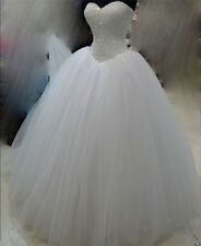 2016 New White/Ivory Tulle Wedding dress Bridal Gown Custom Size 6-8-10-12-14-16