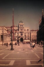 KODACHROME 35mm Slide Italy Venice St. Mark's Square People Pigeons Lion 1960s!