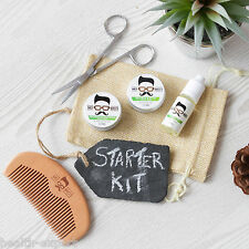 Mo Bro's Sweet Mint Grooming Kit- Moustache Wax, Beard Balm, Oil, Comb, Gift Bag