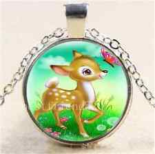 Cartoon Elk & Butterfly Cabochon Glass Tibet Silver Chain Pendant Necklace