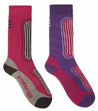 Storm Ridge Ladies 2 Pack Ski Socks UK 4-7 Pink & Purple