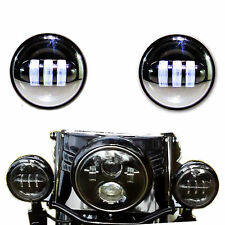 """2x 4-1/2"""" Black LED Auxiliary Spot Fog Passing Light Lamp For Harley Motorcycle"""