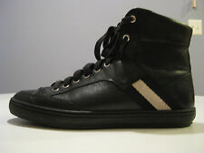 BALLY MEN SHOES OLDANI/20 HIGH TOP SNEAKERS BLACK CALF PLAIN SIZE US 8D