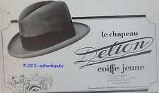 PUBLICITE DELION CHAPEAUX CHAPELIER COIFFE JEUNE POUR HOMME DE 1926 FRENCH AD