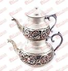 Turkish Teapot Set, Handmade Copper & Handhammered, Tin-Coated Copper, Small