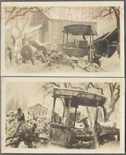 Vintage Photos Farm Crew Cutting Firewood w/ Model T Ford Truck PTO 725017