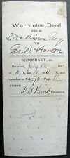 1882 Palmyra Maine Original Warrantee Deed L M Gray To George W Hanson