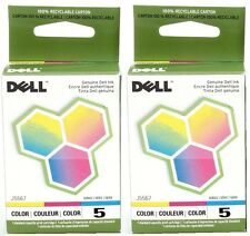 Dell Ink Lot Color Printer Cartridge 5 J5567 Genuine New Set 2 Free Ship Sealed