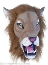 Mens Ladies Furry Lion Rubber Mask Animal Halloween Fancy Dress Costume Outfit