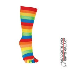 STRIPEY MULTI-COLOURED SOCKS WITH INDIVIDUAL TOES - stocking filler gift
