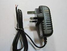 UK 12V 2A Mains AC-DC Switching Adaptor Power Supply Red & Black Bare Wire Ends