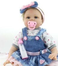 "22"" Baby Girl Magnetic pacifier Lifelike Doll Silicone Vinyl Reborn Baby Newborn"