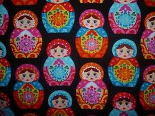 CLEARANCE FQ BRIGHT MATRYOSHKA RUSSIAN NESTING DOLLS FABRIC KITSCH
