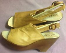 New Office Tan Beige Soft Leather Wedge Summer 70s Style High Sandals Italy 41 8